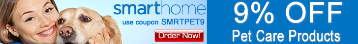 9% OFF All Dog & Cat Supplies and Pet Care Items use Coupon SMRTPET9 - SmartHome.com