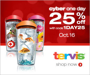 25% off at Tervis.com With Code 1DAY25 on Wednesday only October 16
