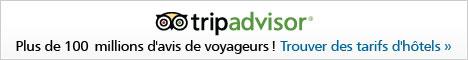 TripAdvisor est la plus grande, la plus populaire et la plus fiable des communautés de voyage au monde. Ils offrent aux voyageurs la possibilité d'organiser à 100% leurs voyages. Ils disposent de plus de 30 millions d'avis d'authentiques voyageurs, d'un puissant moteur de recherche de billets d'avion, d'un outil de recherche et de comparaison d'hôtels, d'un outil de recherche de locations de vacances, sans parler d'évaluations de restaurants du monde entier. TripAdvisor est un site leader dans la location de vacances et propose le plus grand nombre d'avis de voyageurs sur les locations de vacances dans le monde. TripAdvisor répertorie actuellement plus de 100 000 locations de vacances autour du monde, permettant aux voyageurs de profiter d'opportunités tout en bénéficiant de plus d'espace, de plus d'intimité et d'équipements équivalents à ceux de leur propre domicile. Trouvez et réservez un hôtel, une chambre d'hôte, un gîte ou un séjour pour votre prochain voyage. Comparez les prix pour trouver les meilleurs tarifs pour vos billets d'avion. Lisez leurs guides gratuits de voyage avec les conseils des voyageurs sur les meilleurs hôtels, restaurants et activités. Visitez leurs forums de voyages et obtenez les réponses aux questions que vous vous posez avant de partir !