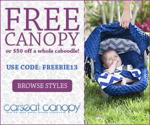 Receive a FREE Carseat Canopy or $50 off a Whole Caboodle! Use FREEBIE13. Offer ends 3/31/14. Click