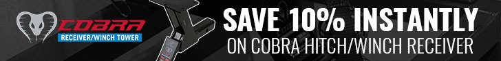 Save 10% on Cobra hitch/winch receivers