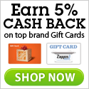 5% Cash Back on Leading Gift Cards