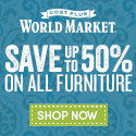 Huge Furniture Sale at World Market! Save up to 50% on all furniture!