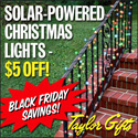 Save $5 off Solar Powered Lights at Taylor Gifts