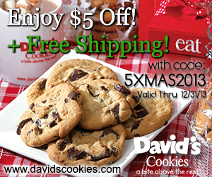David's Cookies: $5 off plus Free Shipping Code 5XMAS2013 Exp 12/31/13