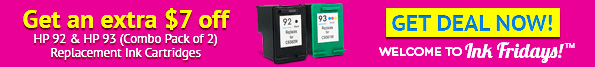 Extra $7 Off HP 92 Black & HP 93 Color (2-pack) Replacement Ink Cartridges