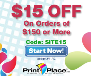 Save $15 on Orders of $150 or more at PrintPlace