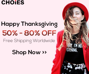Thanksgiving Sale at Choies 50% - 80% Off, Free Shipping Worldwide