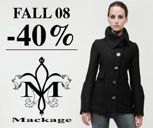 Mackage Sale. 40% OFF on Fall 2008 models.