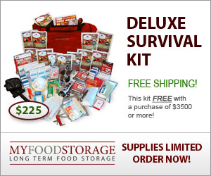 Deluxe survival kit with food storage and water