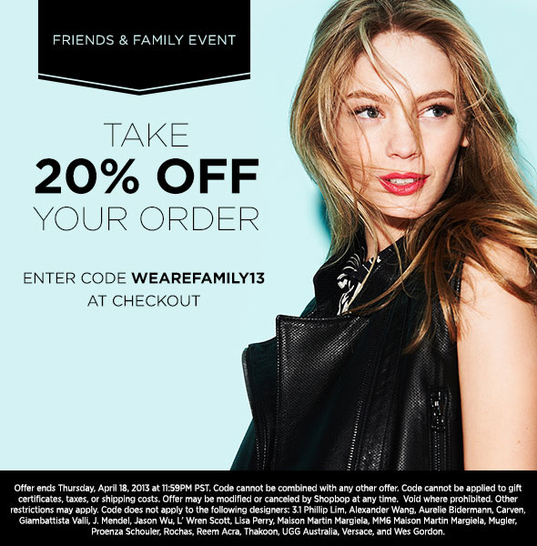 Shopbop 20% off Coupon Code