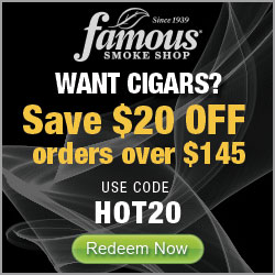 Take $20 discount off cigar orders of $145 or more at Famous Smoke Shop! Use code HOT20.
