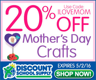 Discount School Supply Mother's Day Coupon Code 20% Off MOTHER'S DAY CRAFTS & Get Free Shipping!