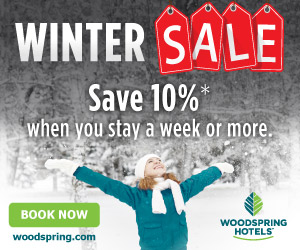 WoodSpring Winter Sale - Save 10% when you stay a week or more.