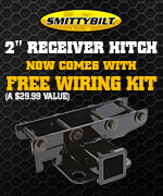 Free wiring kit with Smittybilt JK 2 inch Receiver Hitch