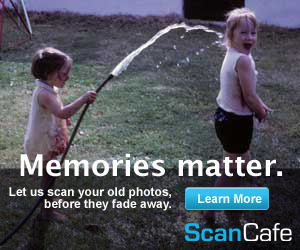 Let us scan your old photos, before they fade away; Scan Cafe ad