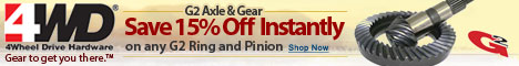 15% Off any G2 Axle Product