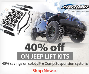 Save up to 40% or $271 on select Pro Comp Jeep Suspension Systems