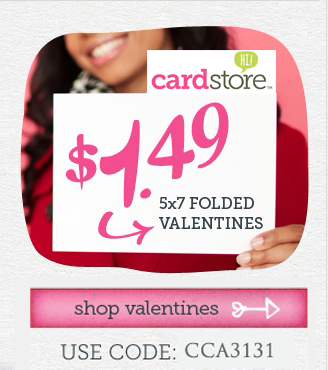 $1.49 Valentine's Day Cards + Free Shipping at Cardstore! Use Code: <strong>CCA3131</strong>, Valid thru 11:59pm PST