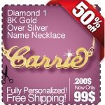 18K Gold Over Sterling Silver Name Necklace with D