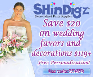 Save 15% on wedding favors and decorations $85+