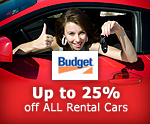 Save up to 25% on Rental Cars with Budget!