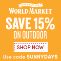 125x125 15% off Outdoor plus free shipping on $150+ at World Market. Use code SUNNYDAYS