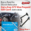 Rancho Shock Relocator now comes with a VISA PrePaid Gift Card for up to $75 back
