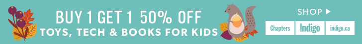 Kids toys, tech, books: buy 1, get the second 50% off (ends Oct 7)