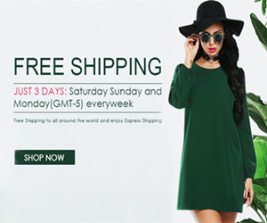 JUST 3 DAYS: Saturday Sunday and Monday(GMT-5) everyweek. Free Shipping to all around the world and