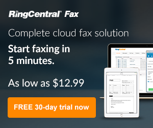 Image for RingCentral Fax - Start faxing in 5mins (300x250)