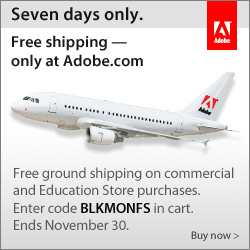 Adobe Free Shipping with Coupon Code BLKMONFS