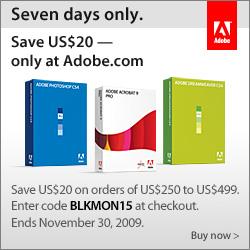 Save $20 on Adobe orders of $250 - $499