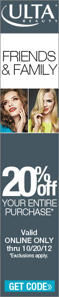 Ulta Friends & Family discount! 20% Off your entire purchase with coupon code 89644! Valid Online On