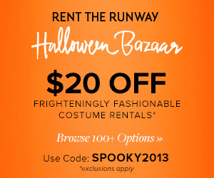 Take $20 off frighteningly fashionable costume rentals of $75 or more at Rent the Runway! SPOOKY2013