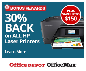 Bonus Rewards! 30% back in rewards on select HP Printers PLUS Save up to $150