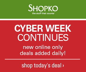Cyber Week Continues – new online only deals added daily at Shopko.com!