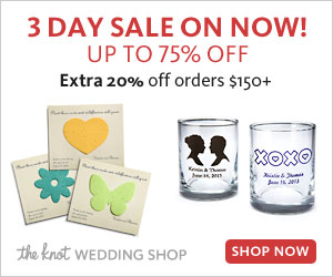 The Knot Wedding Shop 75% off biggest sale of the season starts today!