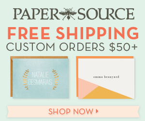 Free shipping on custom print orders over $50 at Paper Source