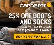 25% off all footwear and socks at Carhartt
