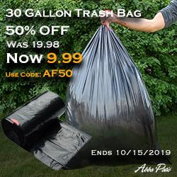 50% Off! 30 Gallon Trash Bag Now is Only $9.99! Use Code AF50. Ends 10/15/2019.
