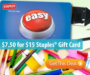 $7.50 for a $15 Staples Gift Card!
