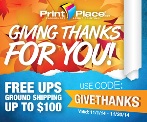 PrintPlace coupons to get free UPS Ground Shipping on orders up to $100