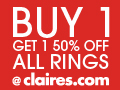 Claire's Buy 1 Get 1 50% Off All Rings