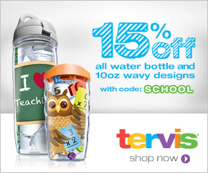 15% off water bottle and wavy designs atTervis.com with code SCHOOL