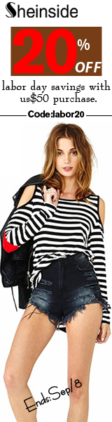 Enjoy Labor Day savings of 20% off orders of $50+ at SheInside.com!  Use code LABOR20 through Septem