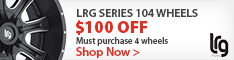 Save $100 on a set of 4 LRG 104 series rims