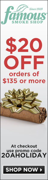 Take $20 off $135+ in Cigars and Accessories! Use code 20AHOLIDAY.