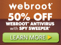 50% off Webroot Antivirus with Spy Sweeper