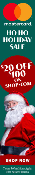 Ho Ho Ho Holiday Sale! $20 OFF $100 purchase at SHOP.COM when you pay with Mastercard. Terms Apply.